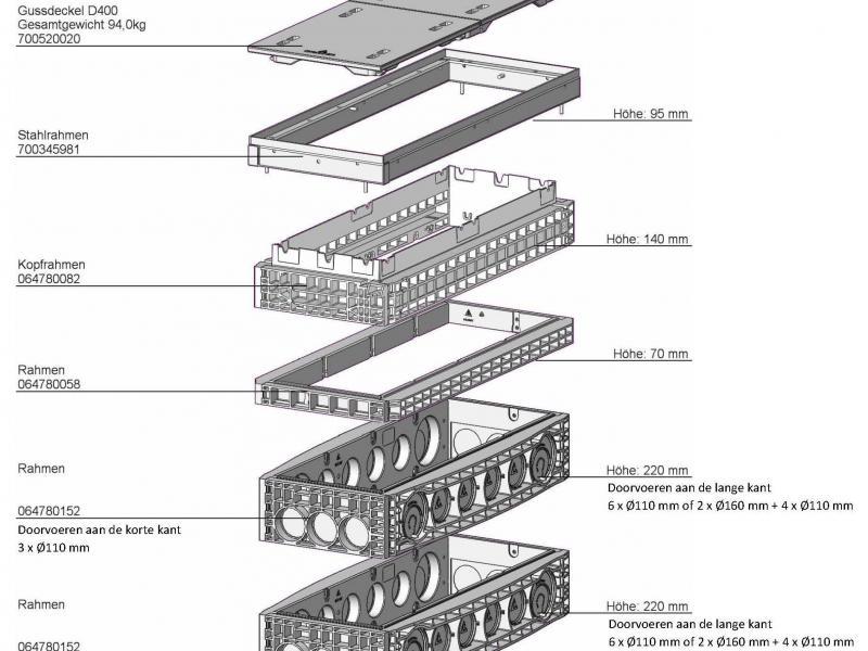 Polycarbonaat Schouwput - Technische tekening opbouw EK478